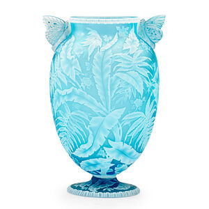 Thomas Webb & Sons, 'Exceptional vase with palm fronds, ferns, blossoms, and butterfly handles, England', late 19th C.