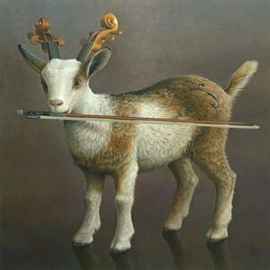 Akifumi Okumura, 'A goat holding a bow in mouth', 2016