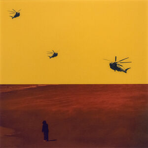 Mark Bartkiw, 'Found - yellow sky, red ground, solitary figure with helicopters', 2019