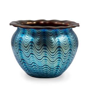 Loetz, 'Loetz, early Vase Decor Cobalt Phenomen Genre 6893 red undercoating, ca 1899', ca. 1899