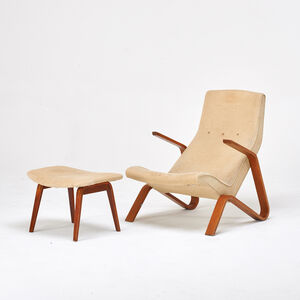 Eero Saarinen, 'Grasshopper lounge chair and ottoman', 1950s