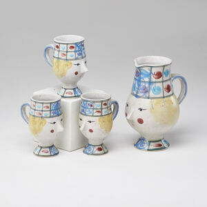 Bjørn Wiinblad, 'Four-piece figural cider set: pitcher and three mugs'