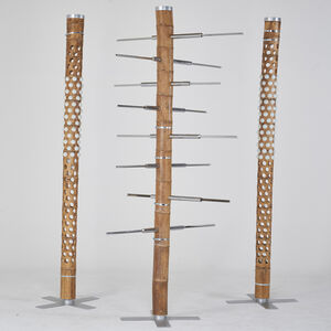 """Ezri Tarazi, 'Set of three """"Living Forest"""" bamboo totems: two  floor lamps and one magazine/book rack', 2000s"""