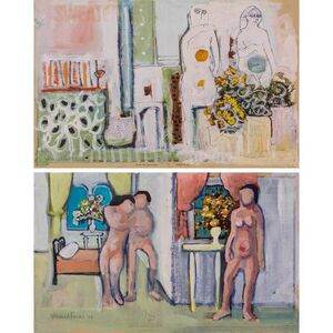 Ahmed Parvez, '(i) Untitled, Couple in Interior; (ii) Untitled, Three Figures in an Interior', 1968