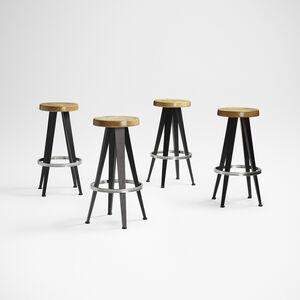 After Jean Prouve, 'stools, set of four', c. 1985