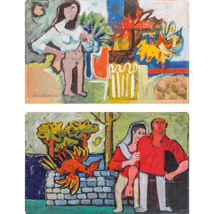 Ahmed Parvez, '(i) Untitled, Woman in Interior; (ii) Untitled, Couple in a Landscape', 1968