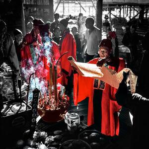 Keith Macgregor, 'Tai Chiu Festival - Priest Reading Donations List, Hong Kong (KMDUO-269)', 1976