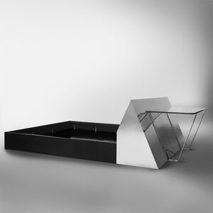 Paul Evans (1931-1987), ' Chrome-Mirrored Bed and Desk, USA'