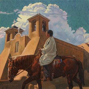 "Dennis Ziemienski, 'Taos Horseman (after Oscar E. Berninghaus painting titled ""Sleepy Mid-day"")', 2020"