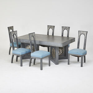 James Mont, 'Extension dining table and six side chairs', 1960s