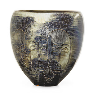 Edwin Scheier, 'Fine large early ovoid vessel with faces', 1950s-60s