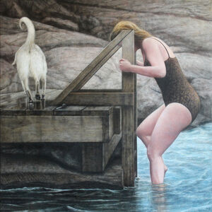 Jeremy Smith, 'Woman and Dog (Hommage to Alex Colville)', 2016