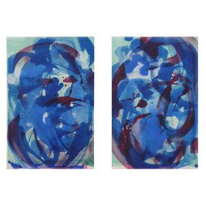 "Rebecca Meanley, '""Sapphire Blue Distemper Diptych""', 2019"