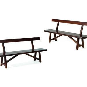 Olavi Hänninen, 'Pair of benches in elm', vers 1950