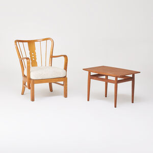 Grete Jalk, 'Teak side table and beech lounge chair', 1950s/60s