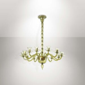Fratelli Toso, 'A lamp with a metal structure and Murano glass elements', 1950 ca.