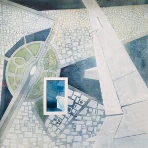 Cecilia Villanueva, 'Airplane Over Mexico, Mexico City, aerial view, impossible architecture, blue, green, white, earth, climate change, geo map, blueprint ', 2019