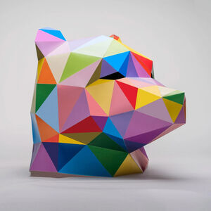 Okuda San Miguel, 'Bear Mask', 2019