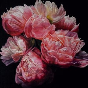 Robert Lemay, 'Coral Peonies - still life floral painting', 2020