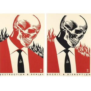 Shepard Fairey (OBEY), 'Deceit & disruption / Destruction & Denial (Suite of 2 )', 2017