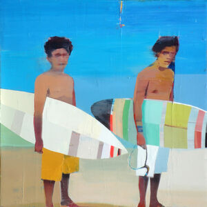 Suhas Bhujbal, 'Surfers on the Beach', 2018