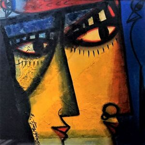 """Paresh Maity, 'Untitled, Oil, Acrylic & Mixed Media on Board, Red, Yellow Black Colours by Contemporary Artist """"In Stock""""', 2013"""