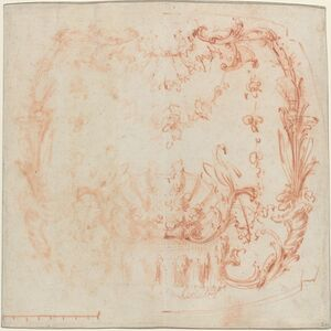 Jean-Baptiste Joseph Pater, 'Rococo Wall Design with a Fountain and Swans [verso]', ca. 1729