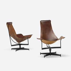 Leathercraft, 'lounge chairs, pair', c. 1969