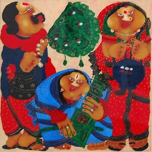 """Shyamal Mukherjee, 'Bawa Biwi, Oil Reverse on Acrylic Sheet, Red, Yellow, Green, Black Colours by Contemporary Artist """"In Stock""""', 2011"""