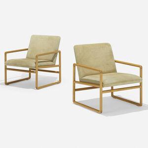 Ward Bennett, 'lounge chairs model 1226, pair', 1960