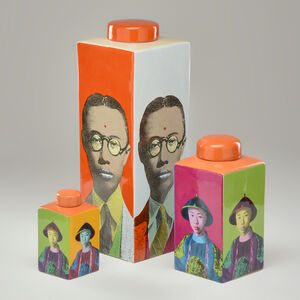 Shanghai Tang, 'Three Warhol-style jars decorated with images of emperor Pu Yi, and four pop-art Geisha pillows'