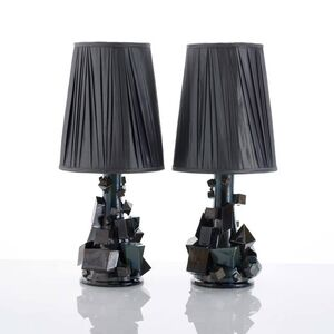 Kate Malone, 'A Pair of Black Magma Lamps', 2018