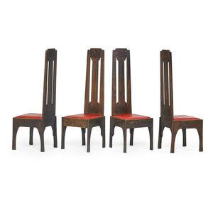 Charles Rohlfs, 'Four tall-back chairs, Buffalo, NY', 1900s