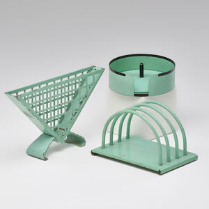 Ruppel, 'Three Bauhaus pieces: coaster set, napkin and letter holders', 1930s