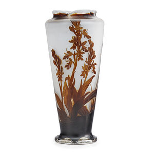 """Galle, 'Tall vase with crocosmia orchid under a scalloped rim, silver base etched """"Je vous aime,"""" France'"""