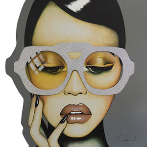 "Anja Van Herle, '""Call me Mellow Yellow"" - pop art, contemporary, Swarovski crystals, fashion, beauty, glasses, oversized glasses, eyewear, portrait, emotions', 2020"