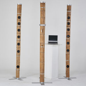 """Ezri Tarazi, 'Set of three """"Living Forest"""" bamboo totems: one  monitor/media stand and two speakers', 2000s"""
