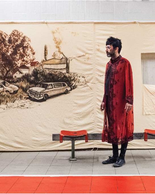 Drawing a line through landscape: lecture performance by Nikhil Chopra