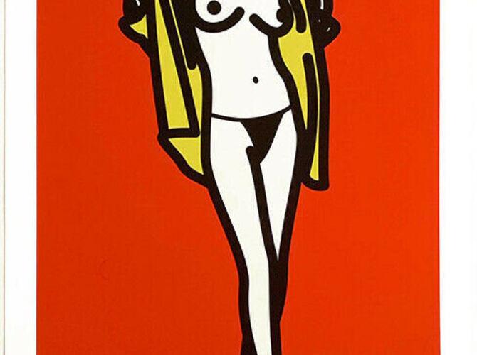Woman Taking Off Man's Shirt by Julian Opie