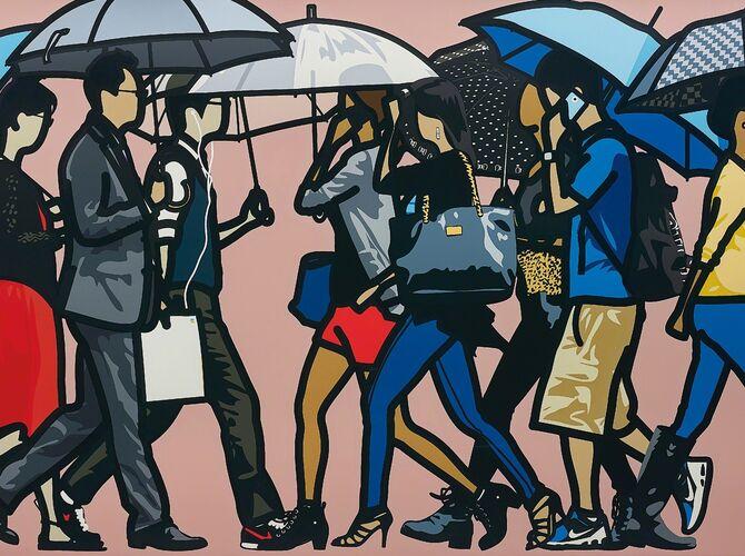 Walking In The Rain by Julian Opie