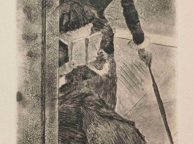 Mary Cassatt at the Louvre by Edgar Degas