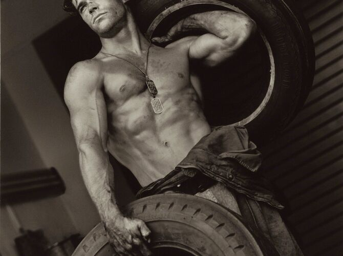 Fred With Tires by Herb Ritts