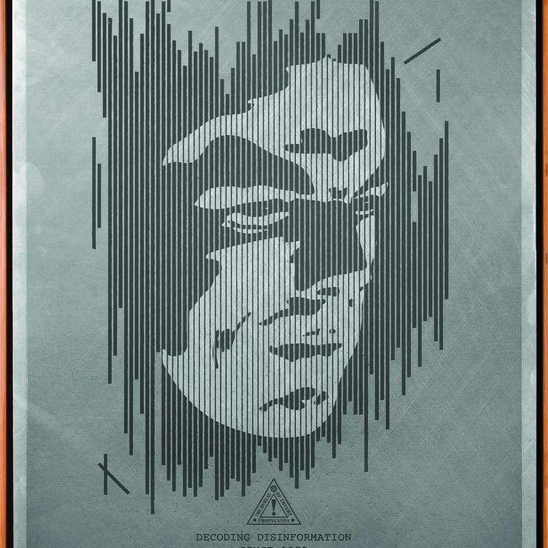 Shepard Fairey, 'Decoding Disinformation (Silver)', 2015, Mixed Media, Screen print on metal (aluminium), Underdogs Gallery