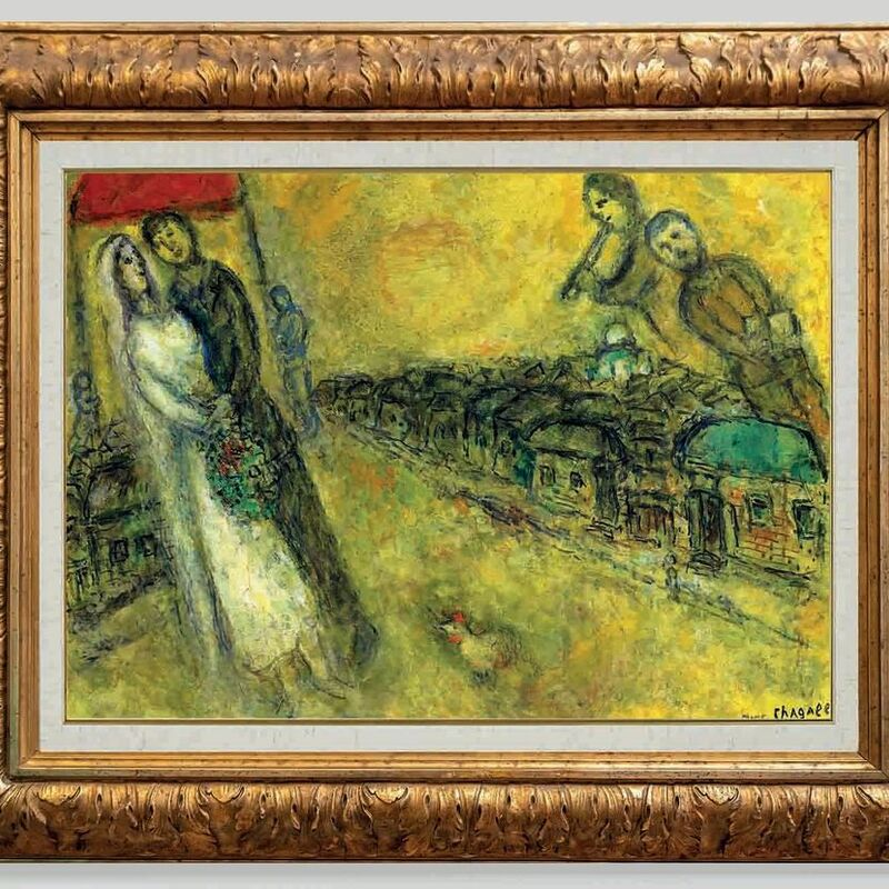 Marc Chagall, 'The newlyweds under the canopy ', 1978-80, Painting, Oil and gouache on canvas, Opera Gallery