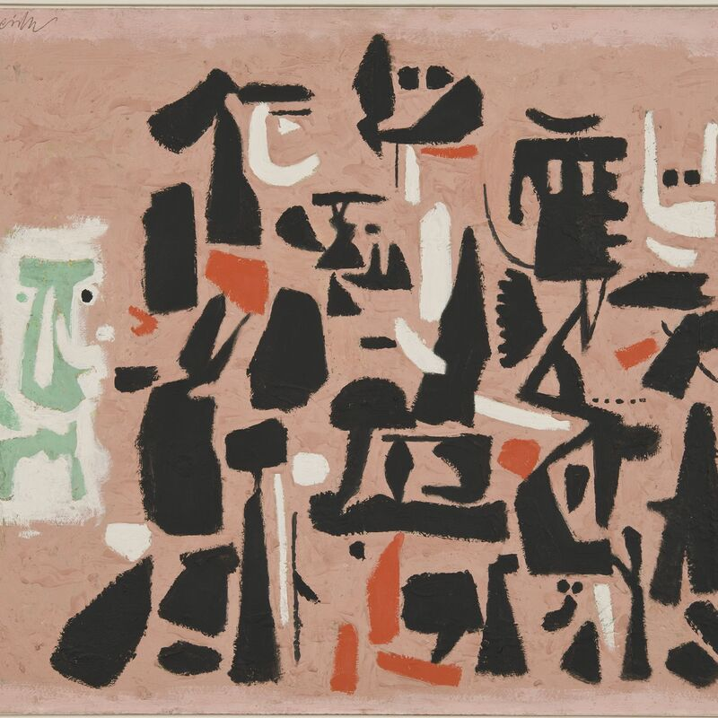 Willi Baumeister, 'Figuration auf Rosa', 1951, Painting, Mixed media on canvas, Galerie Friese