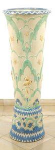 Rare Floor Vase with Flowers, Butterflies and Birds