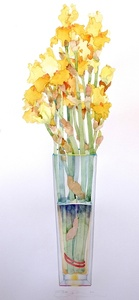 Yellow Iris in a Tall Vase
