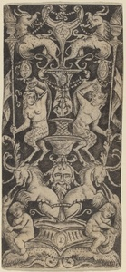 Panel of Ornament with Two Naked Children on Monstrous Beasts