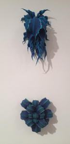 Untitled (cobalt-long/curled leaves) diptych