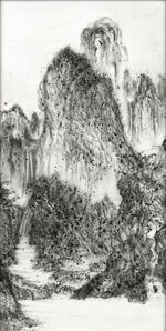 Fiery Ink, A Solitary Temple Amid Clearing Peaks by Li Cheng